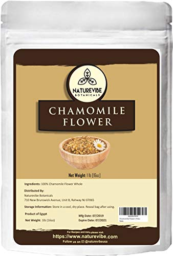 Naturevibe Botanicals Chamomile Flowers Herbal Tea, 1lb   Non-GMO and Gluten Free   Add to Tea   Origin - Egypt