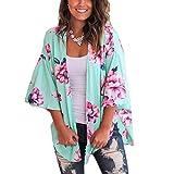 Crdigan para Mujer Corto Cover Up para Playa Estampado Floral Estilo Bohemio Kimono Talla Grande de Mujer para Verano Vacaciones (Azul, M)