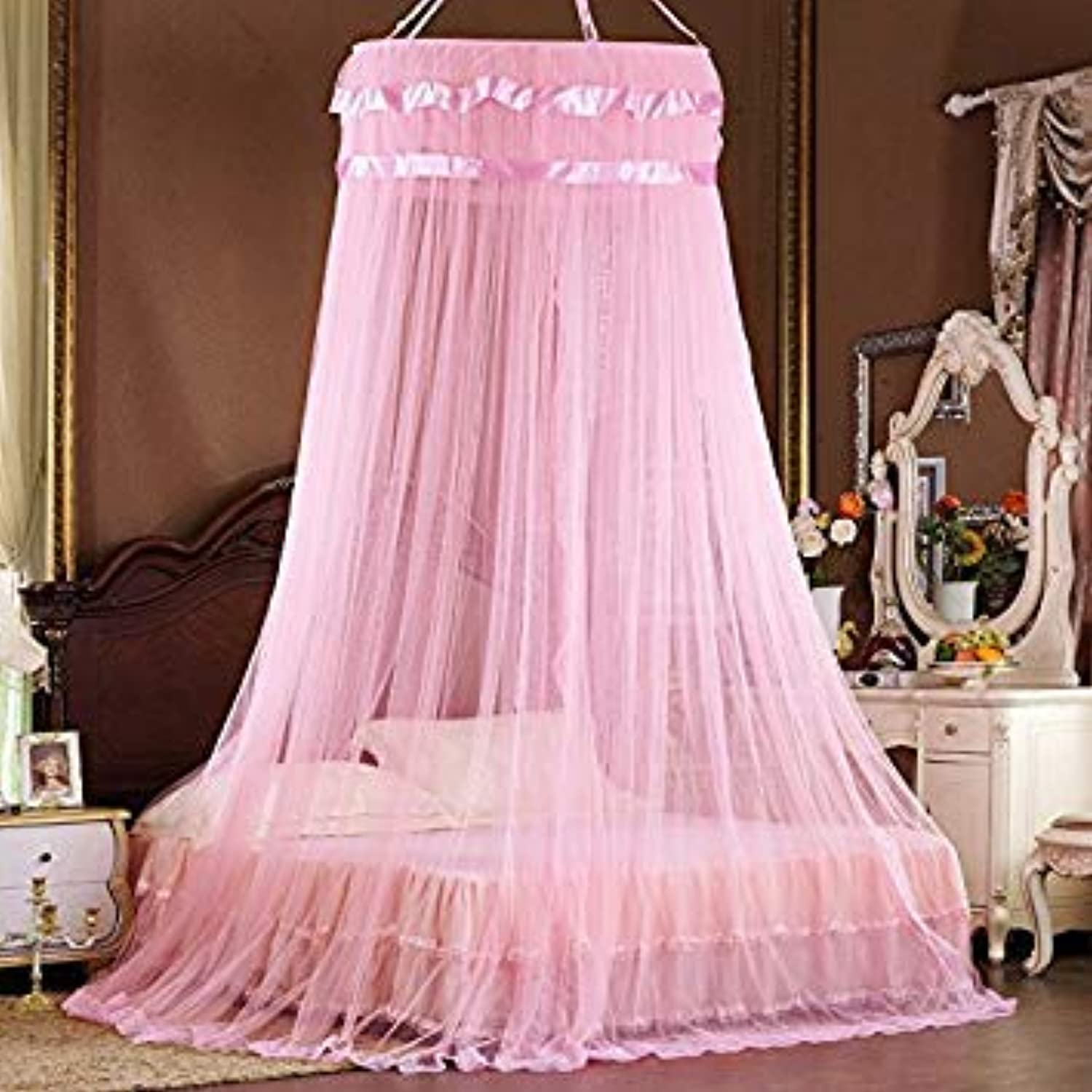 Yellow, Universal   Fashion Princess Bed Canopy Curtain Netting Hung Dome Circular Round Mosquito Net House Bedding
