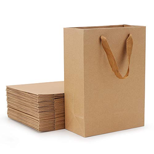 Christmas Gift Bags, Eusoar 25pcs 5.9' x 2.3' x 7.8' Brown Kraft Paper Bags with Handles, Kraft Bags, Party Bags, Retail Handle Bags, Paper Shopping Bags, Wedding Party Bags