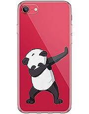 Carcasa de silicona Kinnter compatible con iPhone SE (2020), carcasa transparente de TPU antigolpes, diseño original para iPhone SE (2020), funda ultrafina para teléfono móvil