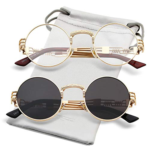 Round Steampunk Sunglasses John Lennon Hippie Glasses Metal Frame 100% UV Blocking Lens (Gold/Clear, Gold/Grey)