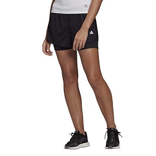 adidas Marathon 20 - Pantalones cortos 2 en 1 para mujer - IPF35, Pantalones cortos 2 en 1 Marathon 20, S, Negro