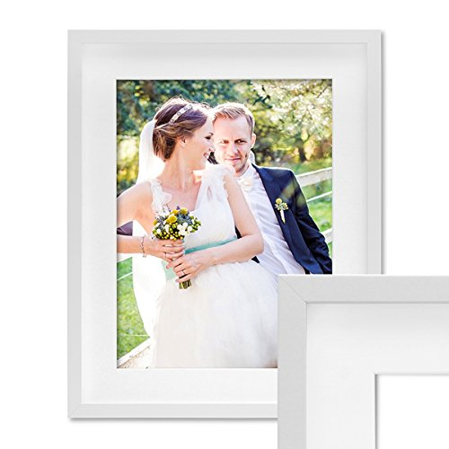 PHOTOLINI 3D-Bilderrahmen Objektrahmen 50x70 cm 3D-Rahmen Weiss Modern Tief MDF-Rahmen mit Passepartout u. Glasscheibe/Fotorahmen