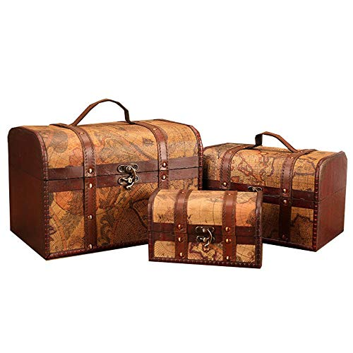 heqianqian Decorative Wooden Box Vintage Suitcase Antique Box Jewelry Organizer for Bedroom Living Room Dressing Room Set of 3 for Bedroom (Color, Size : 3 PCS)