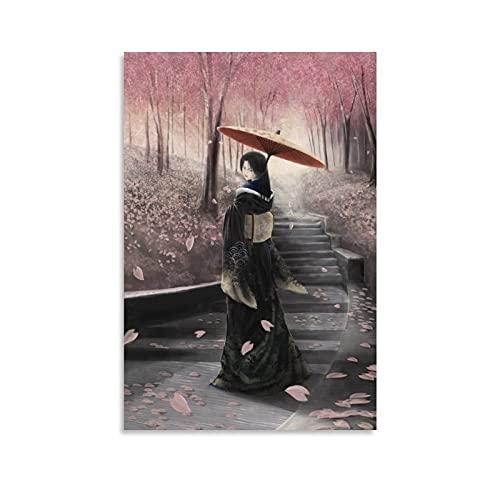 RUIFEN Geisha Japón Único Femenino Trabajadores de Artes Escénicas Cartel de Pared de Arte de la Sala de Arte Estético Cuadro de Lienzo Decorativo 20 × 30 cm