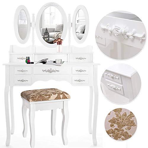 Kesser® Schminktisch luxuriös Weiß Kosmetiktisch Frisierkommode Spiegel Schubladen Hocker | Schminkspiegel | Frisiertisch |...