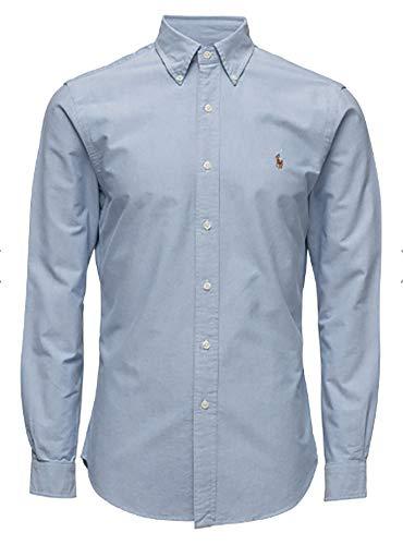 Polo Ralph Lauren Mens Classic Fit Oxford Longsleeve Buttondown Shirt (Light Blue, Large)