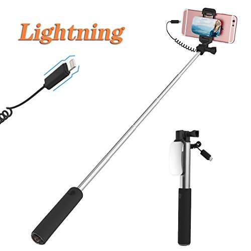 ROCK iPhone 7 Bastone Selfie,Mini Selfie Stick con iPhone Lightning Controllo di Legare e Grande Specchio[139mm a 600mm]per iPhone 7/7 Plus e altro iPhone con Connettore Fulmini - Nero