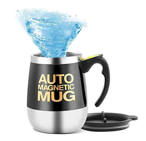 Mengshen Tazza con Miscelatore/Auto Magnetic Mug Self Stirring Coffee Cup for Coffee/Tea/Hot Chocolate/Cocoa Protein 450ml, A006M Black