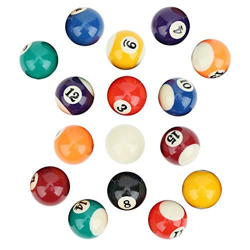 Billard Pool Balls Set, 16 Stück Umweltfreundliches Polyesterharz 38 mm Kinder Billardkugel Spielzeug Mini Billardtisch Queue Balls Pool Queue Trainingsbälle Set