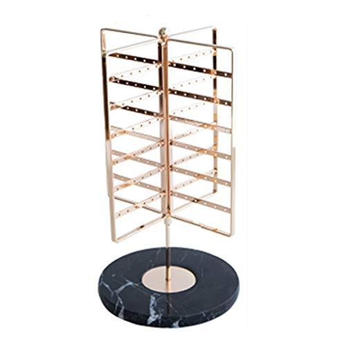 Estante de la joyería Exhibición de la joyería Organizador Rack - Organizador de gran capacidad soporte for la joyería, giratoria cuatro filas de metal del sostenedor del soporte for colgar de los pen