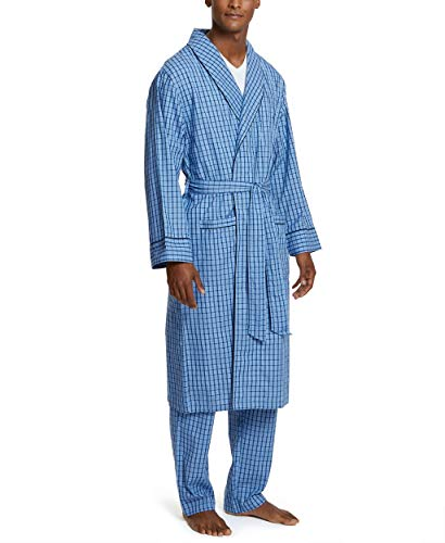 Nautica Men's Long Sleeve Lightweight Cotton Woven Robe, French Blue, Large/X-Large