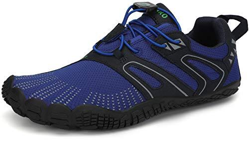 SAGUARO Hombre Mujer Barefoot Zapatillas de Trail Running Escarpines de Deportes Acuaticos Transpirable Calzado Minimalista para Fitness Entrenamiento Gimnasio, Azul Marino 47 EU