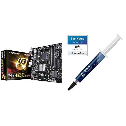 Gigabyte GA-78LMT-USB3 R2 Mainboard 4X DDR3 DIMM, dual PC3-12800U/DDR3-1600, 32GB schwarz & ARCTIC MX-4 (4 Gramm) - Hochleistungs-Wärmeleitpaste für alle Kühler