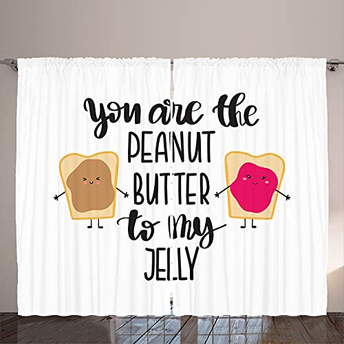 """Ambesonne Saying Curtains, Kawaii Style Funny Design You are The Peanut Butter to My Jelly Breads, Living Room Bedroom Window Drapes 2 Panel Set, 108"""" X 108"""", White and Multicolor"""