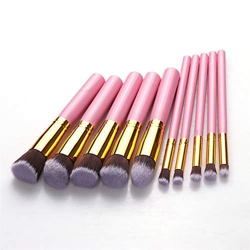 LSWL 10 pcs pinceau de maquillage Set doux synthétique Cosmétiques cheveux teint en poudre fard à joues Blending Lady beauté_Outils de maquillage (Color : Big Pink)
