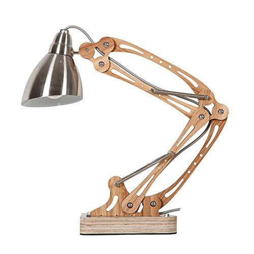 Folding telescopische metalen bureaulamp schommel lange arm led oog houten tafel licht vergaderruimte studie instelbaar werklamp bureauverlichting (kleur: zilver)