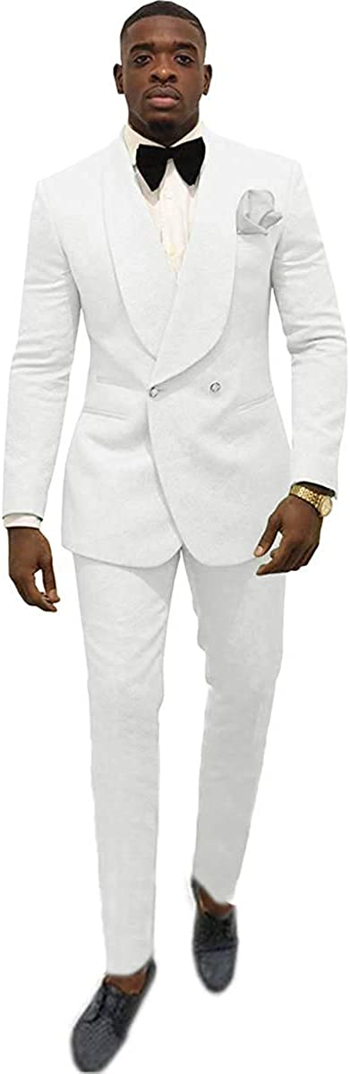 Men's Shawl Lapel Slim Fit Suit 2 Pieces Groom Tuxedos Double-Breasted Blazer Prom Party Suits