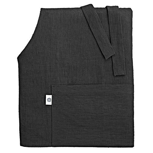 Linen & Cotton Luxus Schürze, Küchenschürze, Kochschürze, Grillschürze Ella, 100% Leinen - 70 x 84cm (Schwarz)