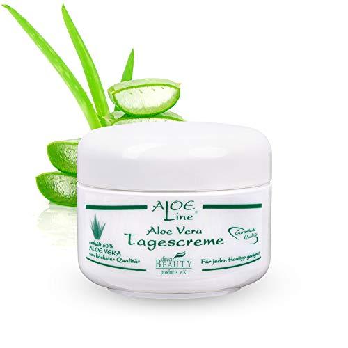 Aloe Vera Tagescreme - enthält 60{4a5a8a44625e47cf1c354daf1129418e1f41c1b83d34e5922ba7e112e904c201} Bio Aloe Vera, Avocadoöl, Jojobaöl, Sheabutter, Panthenol und Vitamin E + A - vitalisiert & schützt die Haut mit LFS 6 - VEGAN / 1er Pack (1 x 50 ml)