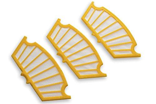 vhbw Ersatz Filter Set gelb 3 Stück passend für iRobot Roomba 550, 555, 560, 562, 563, 564, 565, 570, 580, 581, 585, 590