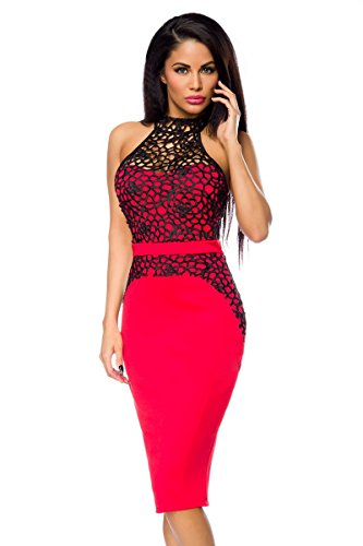 1001-kleine-Sachen at Abendkleid Agata mit Effektstoff Damen-Kleid Pencil-Kleid Neckholder-Kleid Paty-Kleid in rot (S (36))