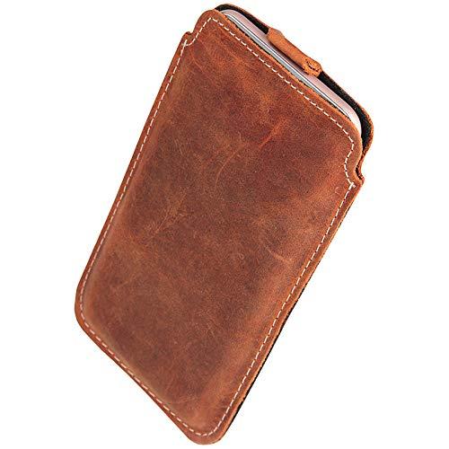 MOELECTRONIX ECHT Leder Hülle passend für Samsung Galaxy S21 S20 S10+ A51 A50 A41 A30S A30 A20 A10 M10 Note 10 | Schutz Tasche Slim Lederhülle mit Lasche | 1GK BRAUN