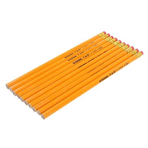 Harilla 10 Piezas HB No.2 Woodcase Lápices Oficina Escuela Barril Amarillo Resistente a Roturas