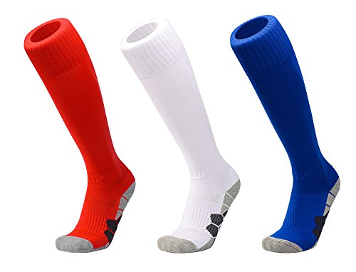DEBAIJIA 3 Paare Unisex Fußballsocken Sportsocken Knie Lang Herren/Damen, Jungen/Mädchen Atmungsaktiv Verschleißfest Fußball Strümpfe Stutzen Socken Rot/Weiß/Blau - M
