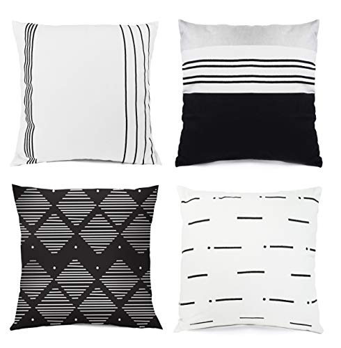 Valiant Home Modern Decorative Throw Pillow Covers, Set of 4 Designs 18 x18 inches, 100% Cotton, Minimalist Boho Style, for Living Room or Bed Set Decor