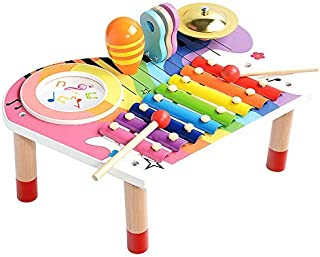Baby Musical Instruments Set, Xylophone for Kids,Wooden Sensory Toy& Birthday Gift Set for Boys Girls (10 PCS) Mimitool