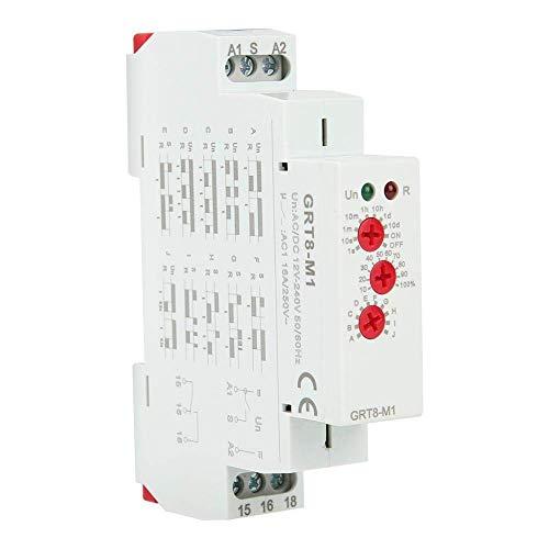 LIPENLI Tiempo de retardo de retransmisión, GRT8-M1 multifuncional montaje en carril DIN con 10 Funciones DC 12V AC / 240V ~ for equipos industriales de control de iluminación de control de calefacció