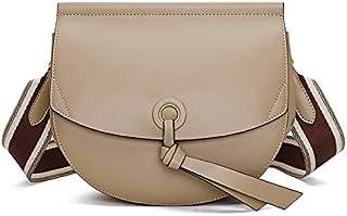 TGGongshengf Women's Bag Messenger Bag New Fashion Saddle Bag Leather Semi-circle Bag Shoulder Bag Small Bag (Color : Apricot)