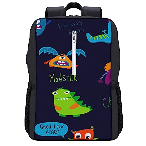 Travel Laptop Backpack,Abstract Monster Funny Toon Comics Baby Mutant Speech Cloud Hcrazy Good Luck Bro,Business Anti Theft Computer Bag Slim Durable with USB Charging Port