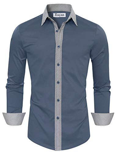 TAM WARE Mens Casual Slim Fit Contrast Lining Button Down Dress Shirts TWCS22-INDIBLUE-US XL