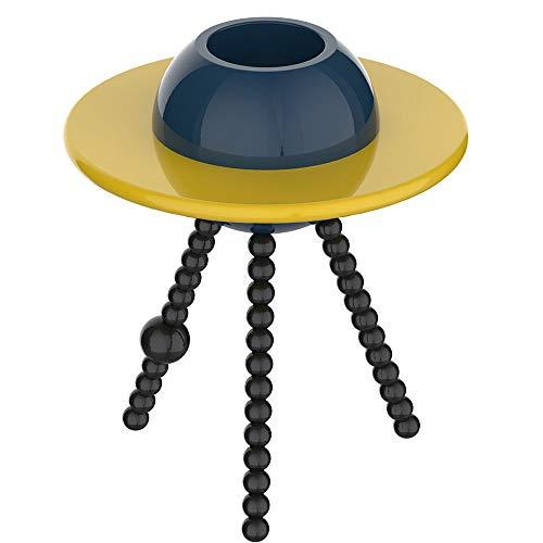 TIUTIU Creatieve ronde rand/koffie/catering/lamp/salontafel, berk, eucalyptus, MDF, blauw en geel, 50 * 50 * 60 cm
