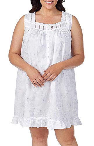 Eileen West Plus Size Embroidered Lawn Short Chemise Nightgown (Lilac, 3X)