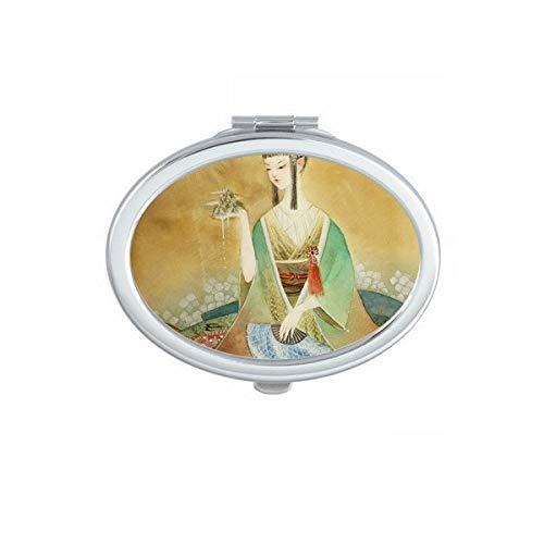 DIYthinker Beauty Chinesische Antik Illustrator Oval Kompakt Make-up Taschenspiegel Tragbar Niedliche Kleinen Hand Spiegel Geschenk