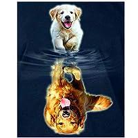 KBIASD DIYダイヤモンド絵画クロスステッチ子犬は犬の家の装飾を反映していますフルラインストーンモザイク5Dダイヤモンド刺繡-30x40cmフレームなし