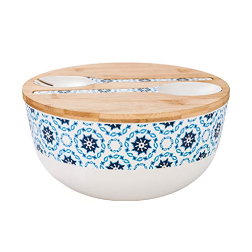 Bamboo Fiber Salad Bowl with Servers Set - Large 9.8 inches mixing bowls Solid Bamboo Salad Wooden Bowl with Bamboo Lid Spoon for Fruits,Salads and Decoration (Blue figure, 9.8INCH)
