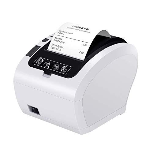 MUNBYN Impresora de Ticket Térmica USB, Impresora de Recibos 80mm, Ticketera Velocidad 300mm/s ESC/POS Compatible con Android/Windows/Mac, Blanca