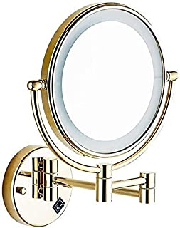 Daily Necessities LED Makeup Mirror Double-Sided Wall Mounted Bathroom Mirror Vanity Makeup and Shaving Mirror   8 inch 3X Magnification   360° Rotating Adjustable Extendable (Exquisite Gold)