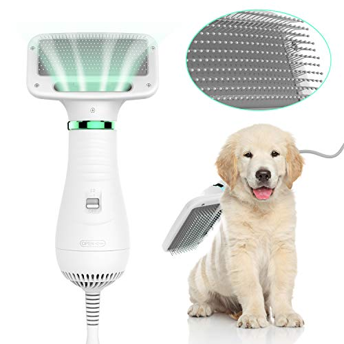 LIVEKEY Pet Hair Dryer, 2 in 1 Home Pet Grooming Hair Dryer with Slicker Brush, Dog Hair Dryer with Adjustable Temperatures Settings, for Small and Medium Dogs and Cats