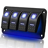 4 Gang Aluminum Rocker Switch Panel, Waterproof Electrical Switch 5 Pin ON/OFF Pre-Wired Toggle Switches Panel with Rocker Switch Holder & Blue Backlit LED 12V 24V for Car Marine Boat RV Vehicle Truck