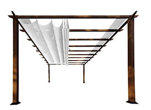 Paragon Outdoor PR16WD2W Backyard Structure Soft Top with The Look of Chilean Wood and Creme Color Canopy, 11' x 16' Off White