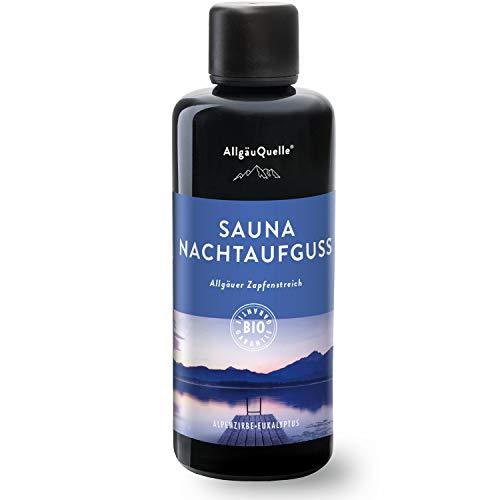 AllgäuQuelle Saunaaufguss mit 100% BIO-Öle Nachtaufguss Alpenzirbe Eukalyptus (100ml) Natürlicher Sauna-aufguss m. Ätherische Sauna-Öle im Aufguss-Mittel. Saunaaufgüsse natrurrein und biologisch.