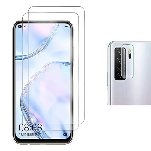 Pkila Panzerglas für Huawei P40 Lite 5G / Huawei Nova 7 SE Schutzfolie + Kamera Panzerglas Bildschirmschutzfolie aus gehärtetem Glas mit Huawei P40 Lite 5G [9-H-Festigkeit] [Kristallklarheit] [Kratzfest]