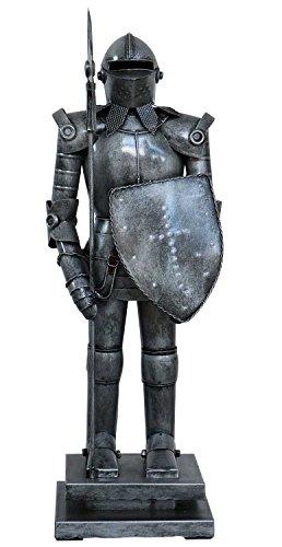 Chevalier avec Le Bouclier Lance Sculpture métal Style Antique 45cm