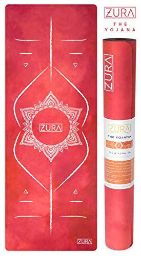 ZURA The Yojana (Alignment Yoga Mat) - The Eco-Friendly Combo Yoga Mat + Towel, Nonslip Grip with Microfiber Towel Top - Extra Long - 3.5 mm Thick - 100% Natural and Non-Toxic, Machine Washable